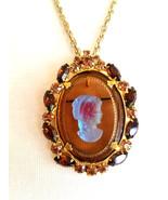 Vintage D&E Juliana Cameo Brooch Pin Pendant Necklace, Rhinestone Brooch... - $68.00