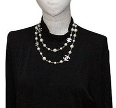 Authentic Chanel Classic 5 Crystal CC Logo Long Beaded Faux Pearl Necklace MINT image 6