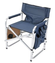 Faulkner Aluminum Director Chair with Folding Tray and Cup Holder, Blue - £46.11 GBP