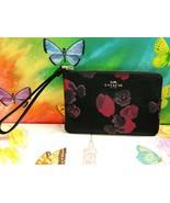 COACH Women's Corner Zip Wristlet Back Leather Canvas Wine Floral Wallet - $42.06
