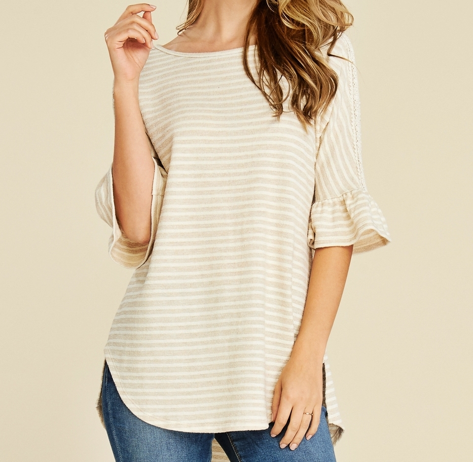 Relaxed Ruffle Sleeve Top, Striped Relaxed Shirt, Beige, Colbert Clothing