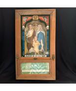 Old 1900 Antique CATHOLIC Viaticum Last Rites Wall Art Shadow Box Altar ... - $360.36