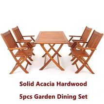 Garden Hardwood Dining Table Chairs Set Folding Outdoor Easy Storage Furniture image 6