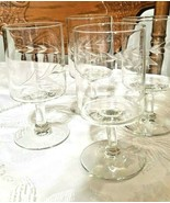 """Vintage Etched Swirled Vine Crystal Cordial Footed Glasses 4 1/2"""" Tall S... - $24.75"""