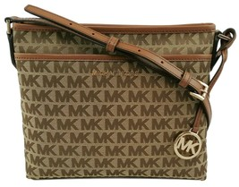 Michael Kors Messenger Cross Body Bag Beige Brown Logo Monogram Canvas B... - $238.96