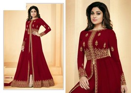 Red Hit Abaya Split Cut Ankle Long Pant Suit Indian Ethnic Dress 7640 - $135.00