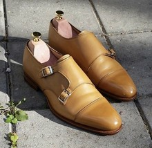 Handmade Men's Tan Double Monk Strap Dress/Formal Leather Shoes image 4