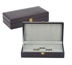 DECOREBAY LEATHER CUFFLINK & RING STORAGE  CASE CUFF LINKS MENS JEWELRY BOX - $24.74