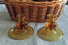 Candle Holders Antique - Amber Glass - 1930's Set Of 2 - Beautiful! - $25.00