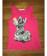 ! H&M pink zebra graphic shirt tank top size 6 girl - $3.96
