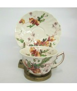 Vintage Royal Doulton Sherborne Coffee Cup & Saucer Scalloped Floral - $9.89
