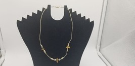 Vintage Silver Necklace With Silver Tone Beads Ans Polished Stone Pieces - $15.44