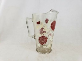 Vintage Heavy Glass Pitcher Ice Lip Clear Red Flowers White Leaves Branches - $14.70
