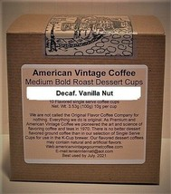 Decaf. Vanilla Nut Flavored  Dessert Coffee 10 Medium Bold Roasted K-Cups - $10.41