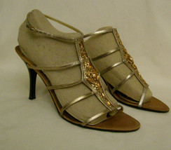 Nine West Heels Size-10M Gold Leather Rhinestones Accent - $14.95