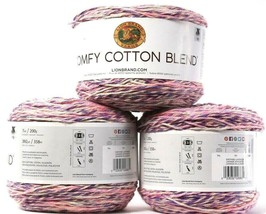 3Lion Brand Yarns Comfy Cotton Blend 7oz 392 Yards Cotton Poly Soothing Lavender - $24.99