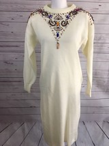 Vintage California Gold Rush Sweater Dress 1980s Jewels Beaded Beige Med... - $32.45