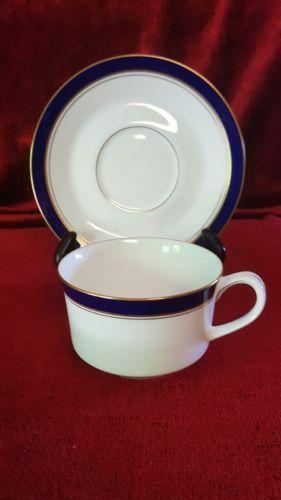 Royal Worcester Howard Cobalt Blue Flat Cup and Saucer Set England