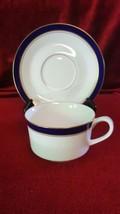 Royal Worcester Howard Cobalt Blue Flat Cup and Saucer Set England - $15.83
