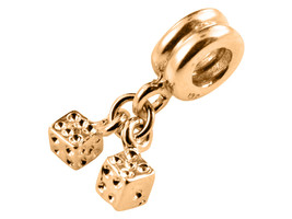 9K Yellow GOLD Handmade Pair of Dice Dangle Charm Fits EUROPEAN BRACELETS - $124.74