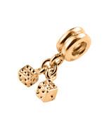 9K Yellow GOLD Handmade Pair of Dice Dangle Charm Fits EUROPEAN BRACELETS - $124.74