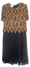 Plus Sz 1X ~ Laurence Kazar Gold Leaf Beaded & Sequin Bodice & Black Dress  - $142.49