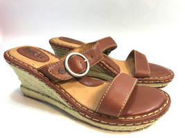 BORN tan brown leather wedge espadrille 2 strap sandals 9 M/W FREE SHIP! - $34.60