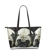 InterestPrint Pug Puppy Dog Women's Leather Tote Shoulder Bags Handbags - $35.81