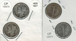 1926 and 1927 Mercury Dimes 2 coins Actual Photo of coins CP100679 - $12.75