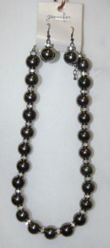 Jennifer Company HS1002BN Gray Half Inch Beads 17 Inch Necklace Earring Set