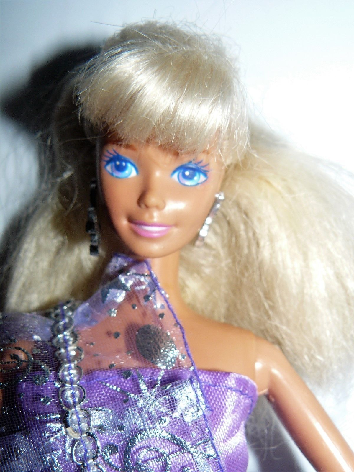 6e577656a0af S l1600. S l1600. Previous. Mattel 1980s Twist N Turn Blond Barbie doll in purple  dress white shoes earring