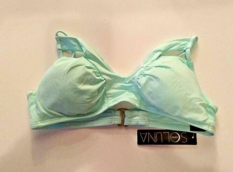Soluna Swim Light Green Bikini Top Removable Cups Size Medium