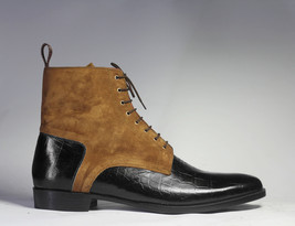 Handmade Men's Black & Brown High Ankle Crocodile Texture Leather & Suede Boots image 5