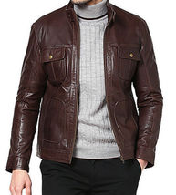 Men Dark Brown Bomber Leather Jacket Coat For Men - $150.00