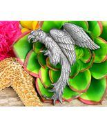 Vintage Parrot Bird Cockatoo Brooch Pin Pewter Silver Large Figural - $24.95