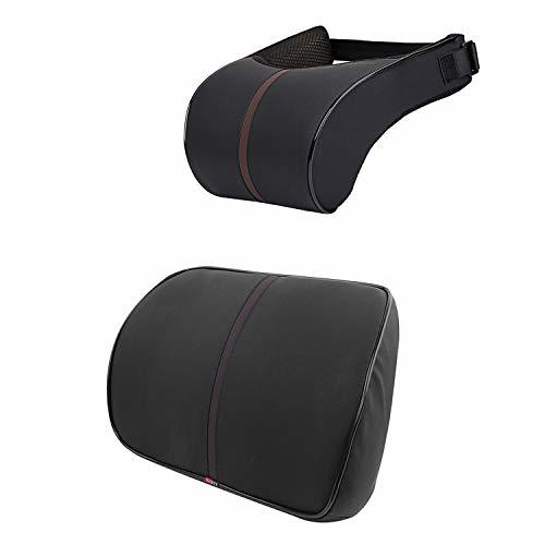 Anyshock Car Headrest Lumbar Pillow Neck Back Support 100% Memory Foam Head Neck