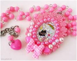 Sparkly Black Cat Resin Cameo Necklace, Beaded Bubblegum Pink Chain, Dec... - $28.00