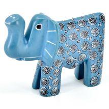 Hand Carved Gusii Soapstone Blue Elephant w Swirl Design Figurine Made in Kenya image 3