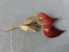 Vintage pink enamel brooch in shape of flowers Enamel Vintage pink flowe... - $27.00
