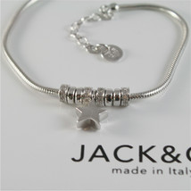 925 RHODIUM SILVER JACK&CO BRACELET WITH SHINY STAR STARLET MADE IN ITALY 7.5 IN image 2