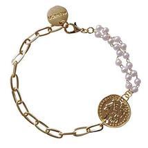 PANDA SUPERSTORE 2 Pcs Gold Color Chain Bracelet Beads Figure Coin Charm Bracele