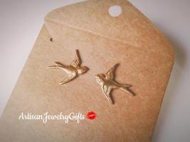 Hypo-Allergenic Gold Sparrow Stud Earrings Gold Bird Stud Earrings Gold ... - $30.00+