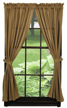 new ~ Olivia's Heartland Deluxe Burlap Natural Tan Short Window Panel curtains - $39.95