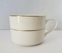 Lynns Stoneware Coffee Tea Cup Valentine Pattern white gold stripes - $6.00