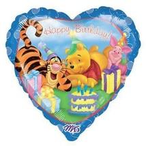 "Winnie Pooh & Friends Heart-Shaped Happy Birthday 18"" Foil Mylar Balloon New - $3.91"