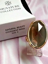 Rare AVON Natural Beauty Statement Ring faux smoky amethyst in gold-tone NIB - $15.00