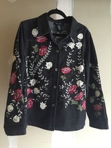 Denim & Co. embroidered denim jean jacket Shirt Appliqué Lace Embroidery - $22.87