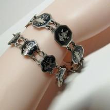 2 PC Lot Vintage Sterling Silver SIAM Black Enamel NIELLOWARE Bracelet 2... - $37.62