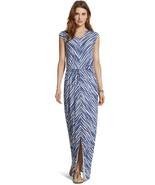 NWT Chico's Mitered Soft Stripe Maxi Dress Tie Waist 1 M Modal Jersey - $29.69