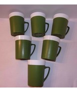 Thermo Style Mugs Plastic Camping Picnic Set 6 Green Retro GitsWare Cups... - $22.23